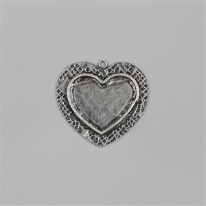 ICE Resin® Antique Silver Milan Large Heart Bezel with Closed Back Approx ID 35x28mm