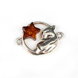 Baltic Cognac Amber Sleeping Mouse Sterling Silver Connector Approx 20x15mm