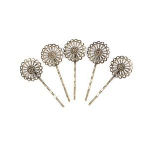 Antique Coloured Base Metal Filigree Bobby Pin Blanks, Approx 27x67mm (5pk)