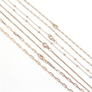 Rose Gold Plated 925 Sterling Silver 18 Inch Necklace Bundle (4pcs - 25c Cable Chain With Beads, 1mm Round Box Chain, Figaro Chain, 70c Long Link Cabl