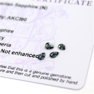 0.6cts Nigerian Sapphire 4x3mm Fancy Pack of 4 (N)