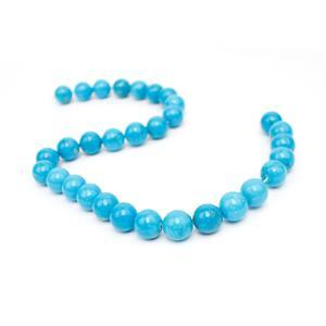 390cts Dyed Sleeping Beauty Blue Magnesite Plain Rounds Approx 12mm, 38cm Strand