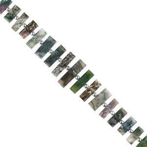 150cts Moss Agate Graduated Faceted Center Drilled Bars Approx 13x6 to 31x8mm, 18cm Strand.