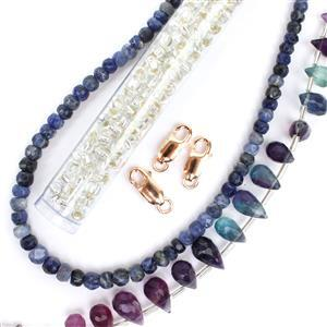 Midnight Ink; Multi-Colour Fluorite Drops, Crystal 6/0s, Sodalite Rondelles & 925 RG Clasp
