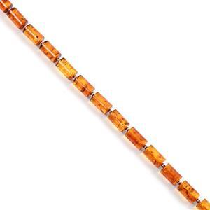 Baltic Cognac Amber Barrel Beads Approx 10x6mm, 20cm Strand, 925 Silver Spacers