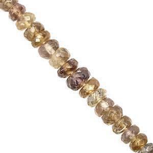 26cts Yellow Tanzanite Graduated Faceted Rondelles Approx 2x1 to 4.5x2mm, 20cm Strand