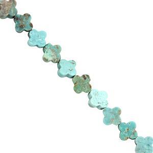 20cts Arizona Turquoise Smooth leaf clover Approx 7.5 x 8mm, 15cm Strand