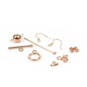 Rose Gold Plated 925 Sterling Silver Multifunctional Findings Pack 17pc