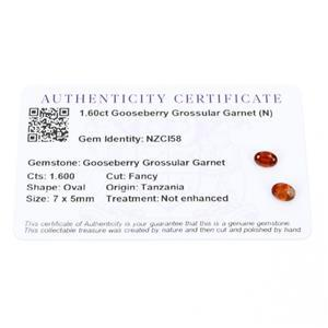 1.6cts Gooseberry Grossular Garnet 7x5mm Oval Pack of 2 (N)