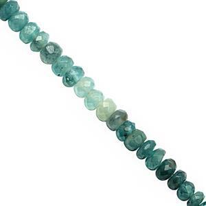 28cts Grandidierite Graduated Faceted Rondelles Approx 3x1 to 4x2mm, 20cm Strand