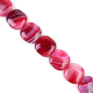 680cts Cerise Stripe Agate Puffy Squares Approx 25mm, 38cm