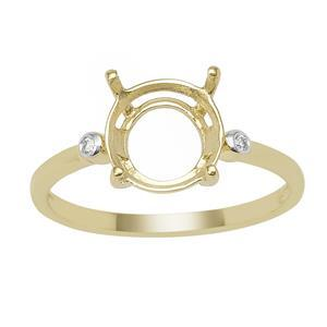9ct Gold Round Ring Mount (To fit 9x9mm gemstone) With 2 Diamonds