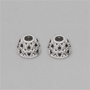 925 Sterling Silver Gemstone Cones Approx 12x9mm Inc. 0.54cts Black Spinel Round Approx 1.5mm (2pcs)
