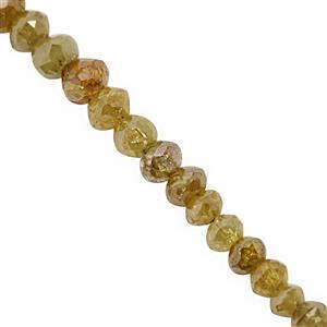 2.10cts Natural Golden Diamond Graduated Faceted Rondelle Approx 1.5x1 to 2.5x2mm, 5cm Strand