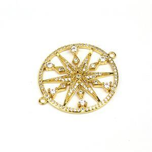 Gold Plated Base Metal CZ Star Connector, Approx. 30mm (1pc)