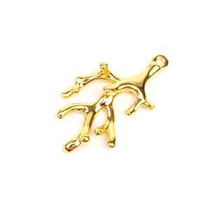 Gold Plated 925 Sterling Silver Coral Pendant Approx 27x15mm 1pk