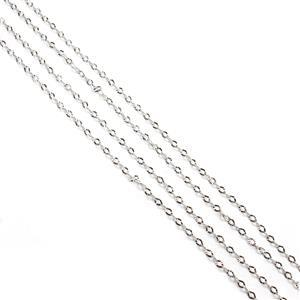 Rhodium Plated 925 Sterling Silver 2.5mm Diamond Cut Oval Chain Approx 45cm/18