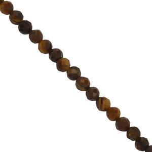 24cts Tigers Eye Faceted Round Seed Beads Approx 3mm, 39cm Strand