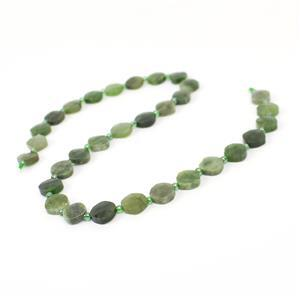 110cts Canadian Nephrite Corner Drilled Faceted Fancy Squares Approx 10mm, 38cm Strand
