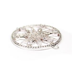 Silver Plated Base Metal CZ Star Connector, Approx. 30mm (1pc)