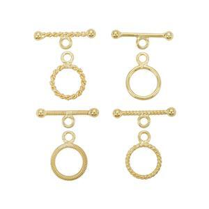 Gold Plated 925 Sterling Silver Lightweight Toggle Clasps (Ring 10mm, T Bar 17mm)- Pack of 8