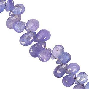 30cts Tanzanite Faceted Side Drill Pear Approx 5.5x4mm to 8x5.5mm 10cm Strand
