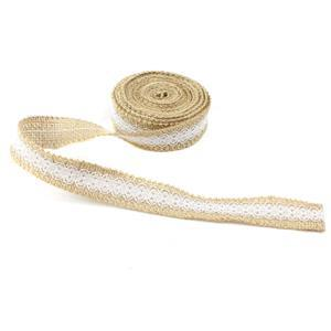 5m Hessian Ribbon with Lace Approx. 25mm