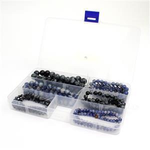 6 Strands in Box Blue Jasper & Snowflake Obsidian Plain Round 4,6,8,10mm, 15-16