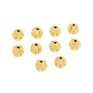 Gold Plated Brass Diamond Cut Stardust Faceted Beads, Approx. 7mm (10pk)