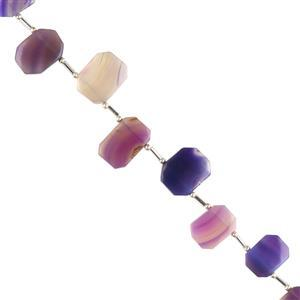 65cts Purple Agate Graduated Plain Octagons Approx 13x8 to 16x12mm, 14cm Strand.