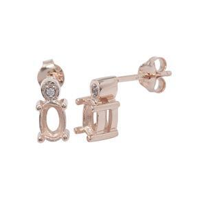 Rose Gold Plated 925 Sterling Silver Oval Earring Mount (To fit 6x4mm gemstones) Inc. 0.03cts White Zircon Brilliant Cut Round 1.25mm - 1Pair
