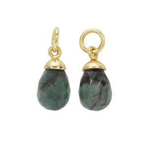 Gold Plated 925 Sterling Silver Drop Charm with 7.46cts Sakota Emerald, 10x7mm (2pcs)