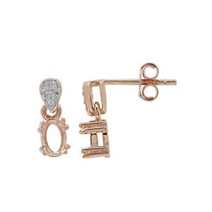 Rose Gold Plated 925 Sterling Silver Oval Earring Mounts With White Zircon (To fit 6x4mm gemstone) -1 Pair