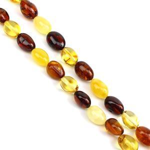 Baltic Multi Colour Amber Beads Inc. Cognac, Cherry, Lemon, Approx. 9x6mm-16x11mm (38cm Strand)