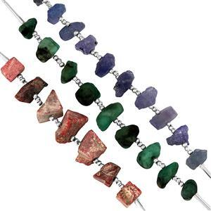 75cts Thulite, Tanzanite & Emerald Plain Rough Nuggets Approx 5x3.5mm to 9x6mm, 5cm strand with spacers (Set of 3)