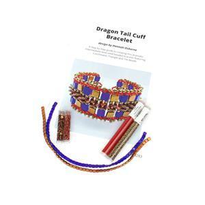 Dragon Tail Cobalt Copper;  Czechmates Tile Beads x2, Triangle Beads x2, Miyuki 11/0 & 8/0