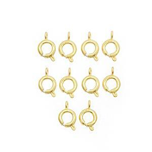 Gold Plated Base Metal Bolt Ring Clasp, 7mm (10pcs/Pack)