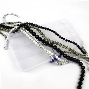 6 Strands in Box Black Agate, Dalmatian Jasper & White Howlite Plain Round 4,6,8,10mm, 15-16