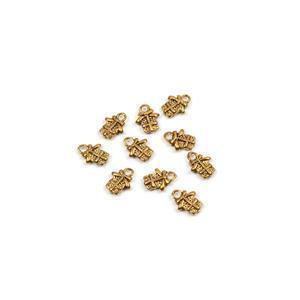 Antique Golden Brass Present Charm Approx 12x9mm 10pk