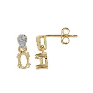 Gold Plated 925 Sterling Silver Oval Earring Mounts With White Zircon (To fit 6x4mm gemstone) -1 Pair