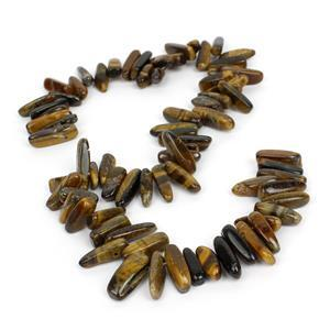 420cts Yellow Tiger Eye Long Chips Approx 13x5-19x7mm, 38cm strand