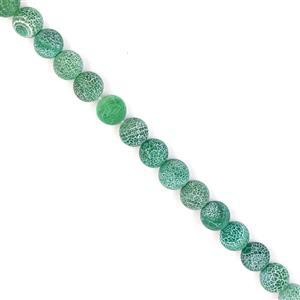 230cts Green Frosted Crackled Agate Plain Rounds Approx 10mm, 38cm strand
