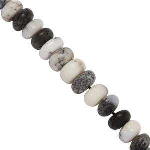 70cts Dendrite Opal Graduated Smooth Rondelles Approx 3x2 to 9x5mm, 19cm Strand