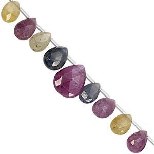 38cts Multi-Colour Sapphire Top Side Drill Graduated Faceted Pear Approx 4x5 to 6x8mm, 20cm Strand With Spacers