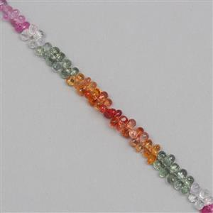 31cts Multi-Colour Sapphire Graduated Faceted Drops Approx From 3x2 to 4x2mm, 17cm Strand.