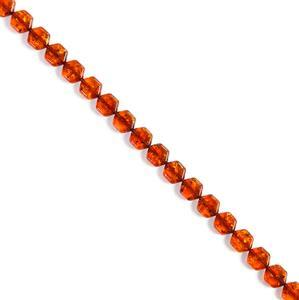 Baltic Cognac Amber Rounded Hexagon Bead Strand, Approx. 10mm 20cm Strand