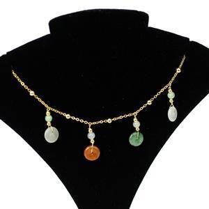 7ct Multi-Colour Type A Jadeite Gold Tone Sterling Silver Bracelet