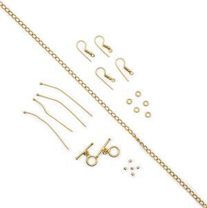 Gold Plated Base Metal Essential Findings Kit (21pcs)