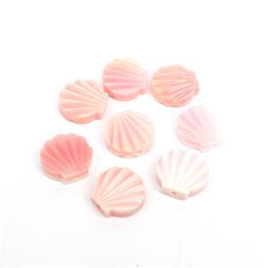 Pink Carved Shell Shaped Fully Drilled Shell Pearl Approx 12mm, 8pcs