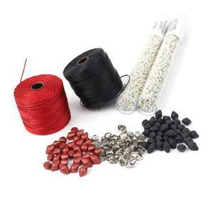 Shanghai; 3x Spiky Button Beads, Miyuki 8/0 & 11/0, 2x S-Lon cord